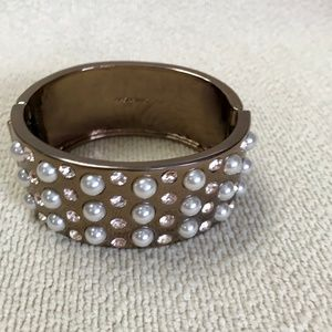 Givenchy bronze bracelet with pearls and crystals